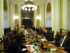 9 April 2012 Foreign Affairs Committee members speak with Swiss parliamentary delegation