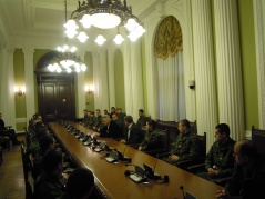 13 March 2012 National Assembly Secretary General Veljko Odalovic talks to the cadets of the Military Academy's 136th class