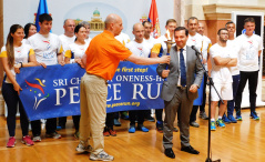 16 May 2018 Peace Run torch symbolically handed to National Assembly Deputy Speaker Prof. Dr Vladimir Marinkovic
