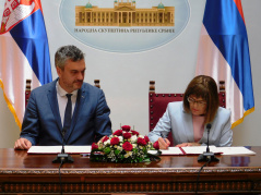 22 July 2019 National Assembly Speaker Maja Gojkovic and the President of the Serbian Chamber of Commerce Marko Cadez