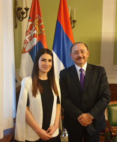 4 March 2020 The Head of the PFG with Mexico Ana Karadzic with Mexican Ambassador to Serbia Marco o García Blanco