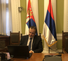 1 December 2020 The Speaker of the National Assembly of the Republic of Serbia Ivica Dacic addresses the online seminar for new MPs
