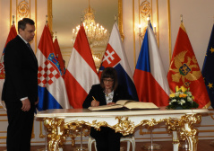 13 February 2020 National Assembly Speaker Maja Gojkovic in Bratislava, at the meeting of the parliament speakers of the Slavkov Group