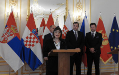 "13 February 2019 Speaker Gojkovic at the end of the meeting of the parliament speakers of the Slavkov Group with the topic ""EU Enlargement: support for the integration process"""