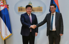 28 January 2020 National Assembly Deputy Speaker Veroljub Arsic and the departing Kazakh Ambassador to Serbia Nurbah Rustemov