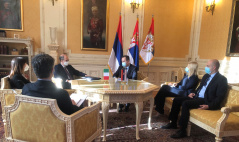 21 January 2021 National Assembly Speaker Ivica Dacic receives Italian Ambassador to Serbia Carlo Lo Cascio