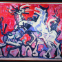 Petar Lubarda <br>Horses, 1954 (ca.) <br>Oil on canvas, 125.5 × 105 cm <br>Signed above on the left: Lubarda; on the back of the canvas: Lubarda