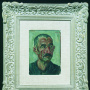 Petar Lubarda <br>The head of a man, 1941 <br>Oil on plywood, 19.5 × 26.5 cm <br>Signed above on the left: Лубарда; <br>below on the right: К… 1941