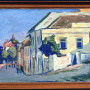 "Boško Petrović <br>Karlovacka Street, 1953 <br>Oil on the paper attached to cardboard, 74 × 50 cm <br>Signed below on the left: Бошко П. 53 <br>On the back: Бошко Петровић НСад. Дунавска 32/II ""Карловачка улица"""