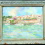Milorad Ćirić <br>Belgrade seen from the Sava, 1975 <br>Oil on cardboard, 68.5 × 56 cm <br>Signed below on the right: М. Ћирић 1975